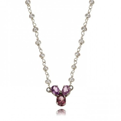 Amethyst Trefoil and Pearl Necklace Close ATPeNMVLtdEd