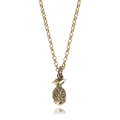 Gold Pineapple Necklace, another golden fruit! From the Modern Collection by Anne Bowes Jewellery, available at £325