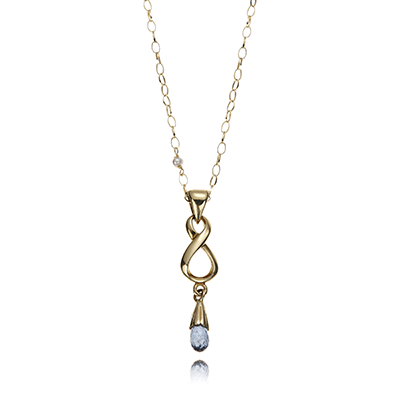 A Vintage 9 carat gold and topaz Infinity Necklace from the Unique Gallery by Anne Bowes Jewellery and available for £300