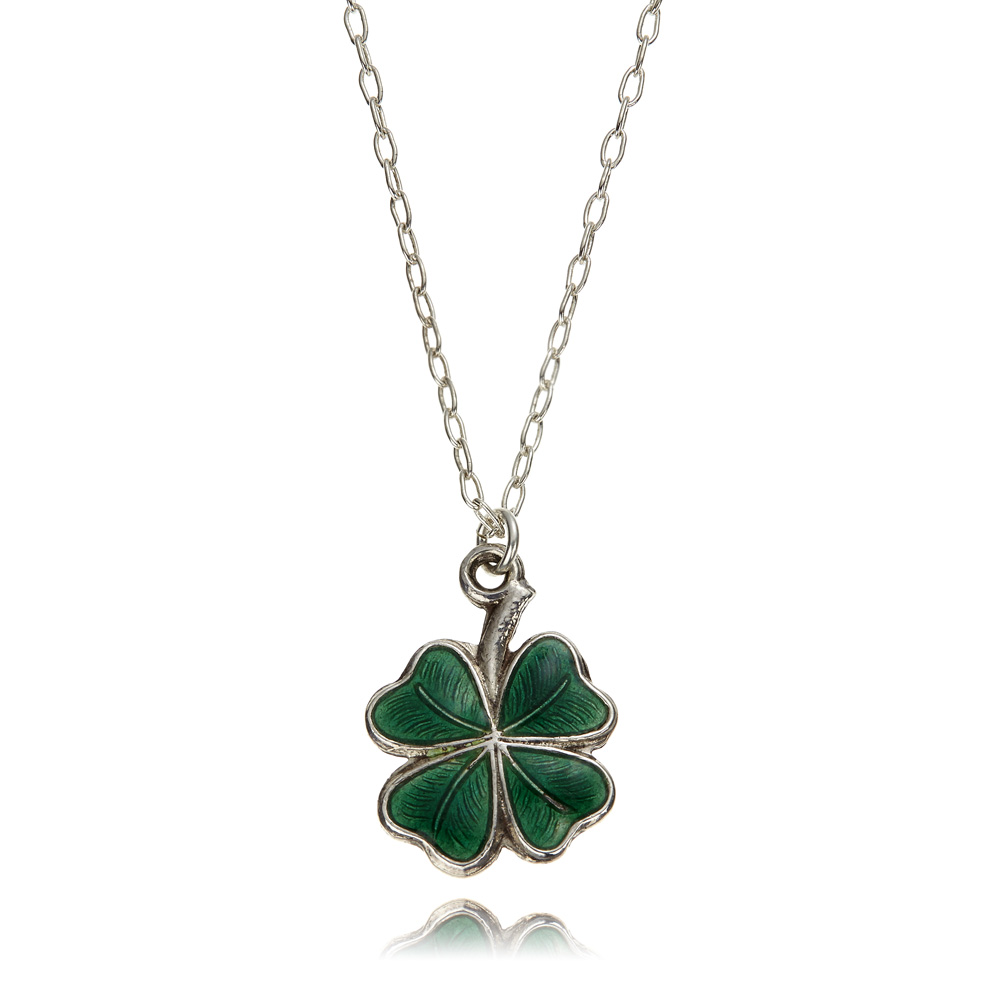 clover necklace pendant leaf silver lucky sterling