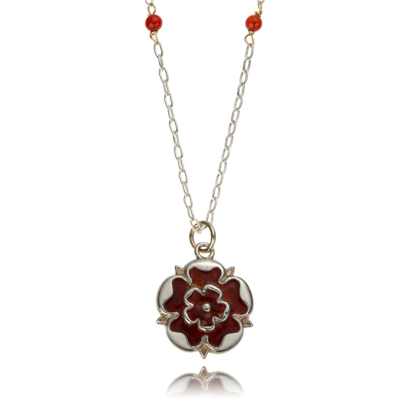 Lancaster Rose with cornelians Necklace Close LRCoNLtdEd  R