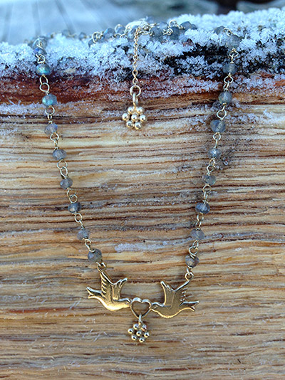 Gold Dove and Labradorite Chain Necklace