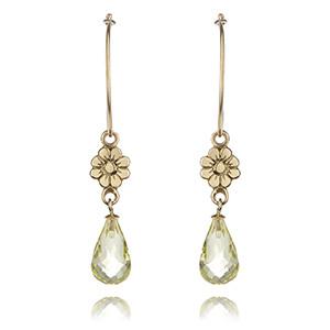 Citrine and Gold Flower Earrings £240