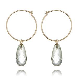 Prasiloite and Gold Hoop Earrings £170