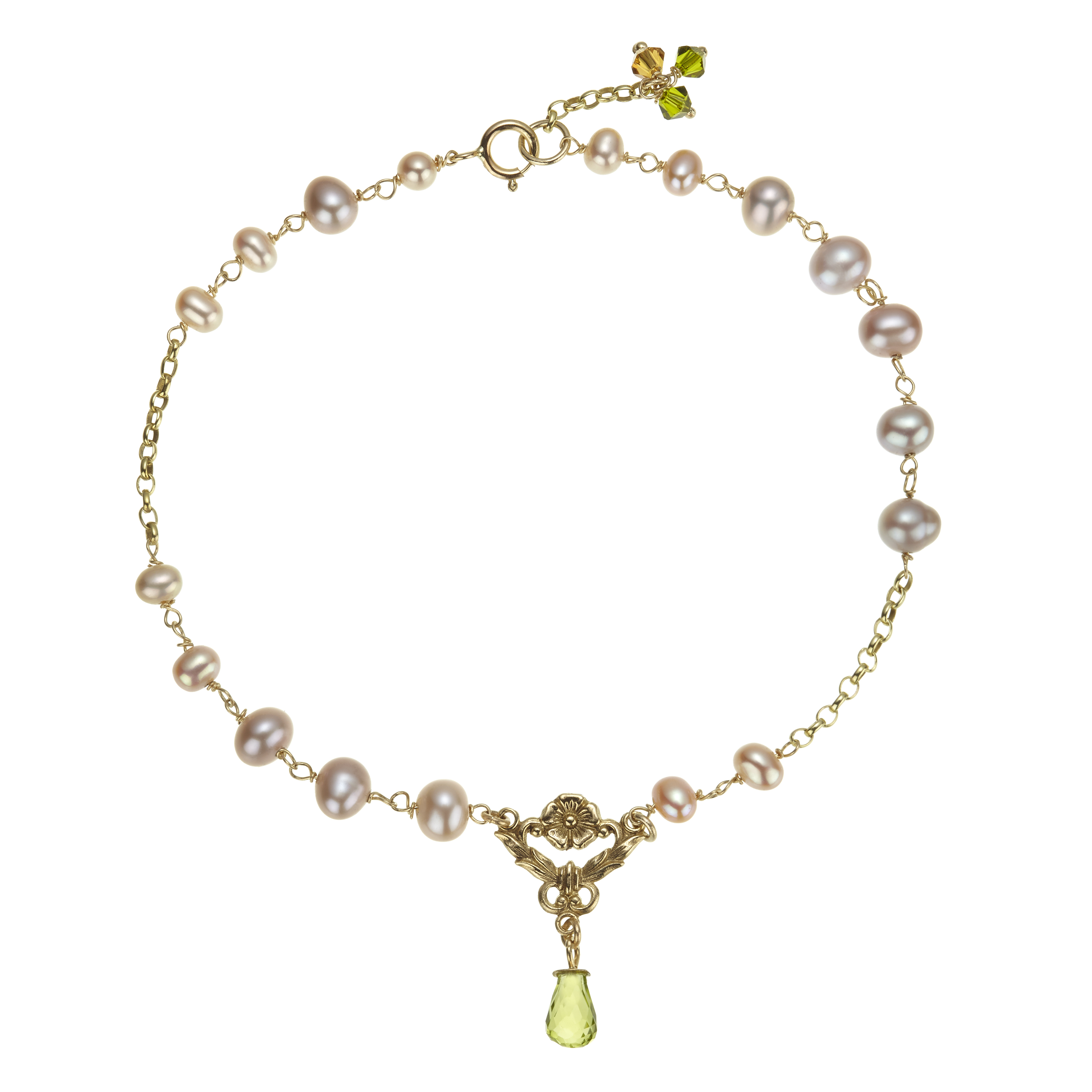 a5ab837ad46cb Pink Pearl and Peridot Bracelet